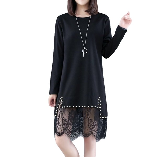 Pengpious spring breastfeeding dress fashion postpartum women nursing dress long sleeve lace patchwork beaded lactation