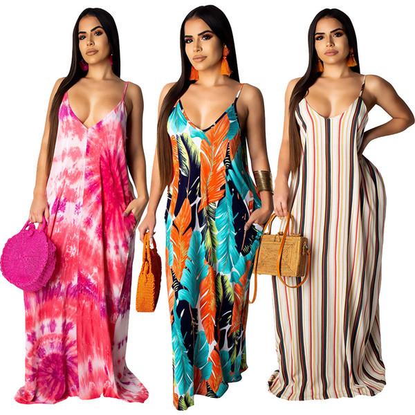 Women Casual Loose Spaghetti Strap Dress Beach Holiday Striped Floral V-neck Seaside Dress Long Boho