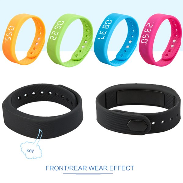 1 Pc 3D T5 LED Display Pedometer Sports Gauge Fitness Bracelet Smart Step Tracker Smart Pedometer Man Woman Wristbands Smartband