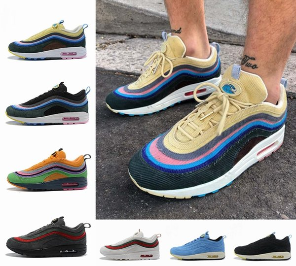 Compre 2019 Nike Air Max Airmax 97 Sean Wotherspoon 97s Hybrid Men Running Shoes OG Undefeated Ultra Silver Bullet Triple Blanco Deportes Para Hombre