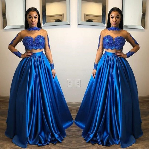 Royal Blue Two Pieces Prom Dresses Lace Appliques Sheer High Neck Long Sleeves Evening Gowns Floor Length Cheap Saudi Arabic Party Gowns