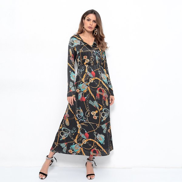 2019 women clothing long sleeve V-Neck button chain print A-Line dress Female casual fashion slim Midi dresses D5952