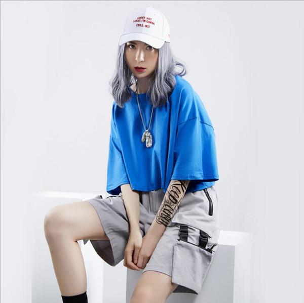 Nuovo marchio 2019 Tide delle donne prima e dopo il buco a maniche corte T-shirt selvaggio girocollo tinta unita camicia femminile 041