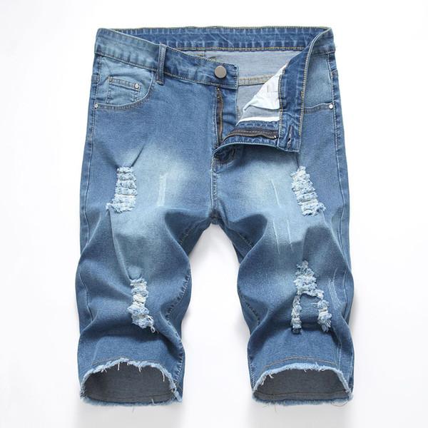 d0a210d728 2019 verano nuevos hombres elásticos pantalones vaqueros cortos robin jeans  moda agujero informal delgado de alta