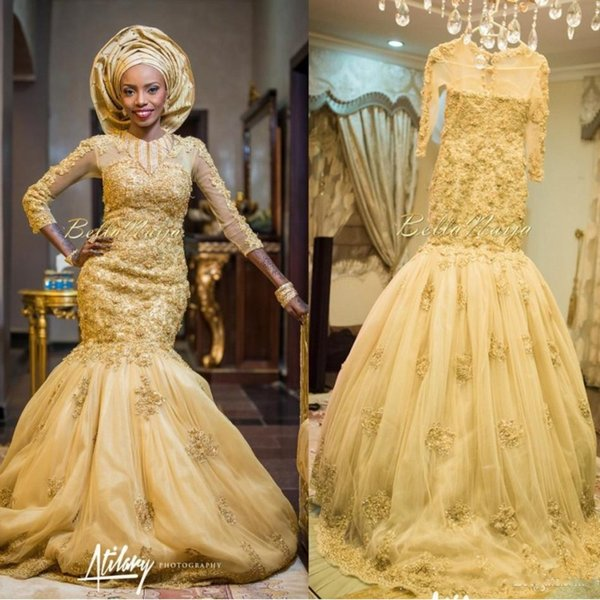 2019 Gold African Traditional Lace Wedding Dresses Beaded Jewel Neck 3D floral Beaded Appliques Long Sleeves Tulle Chapel Train Bridal Gowns