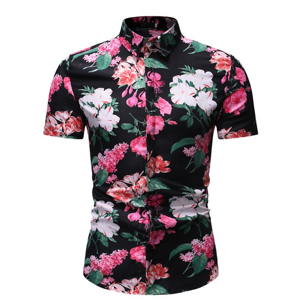 Men Shirts New Fashion Short Sleeve Shirt Men Casual Clothing flower Short Sleeve Slim Top Blouse Male Shirt camisa masculina