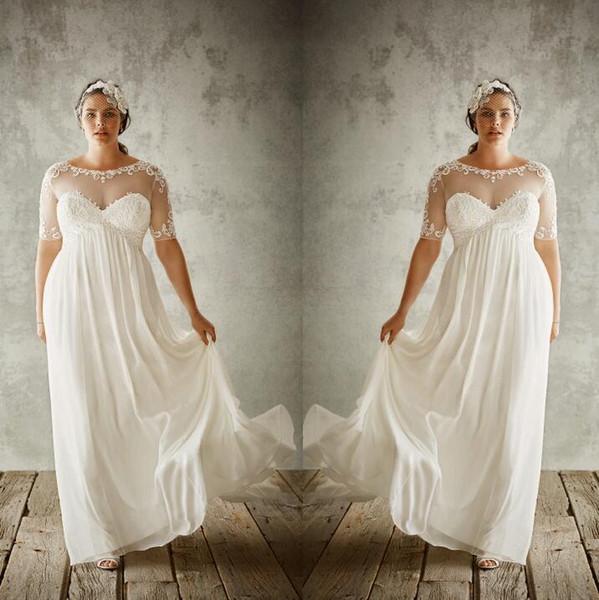 Gasa amplia Tallas grandes Una línea Vestidos de novia con medias mangas Cuello de joya transparente Apliques Vestidos de novia Imperio vestidos de fiesta