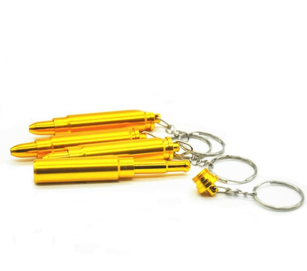 Mini bullet key chain metal small pipe, gold portable filter cigarette holder, pipe smoking accessories wholesale