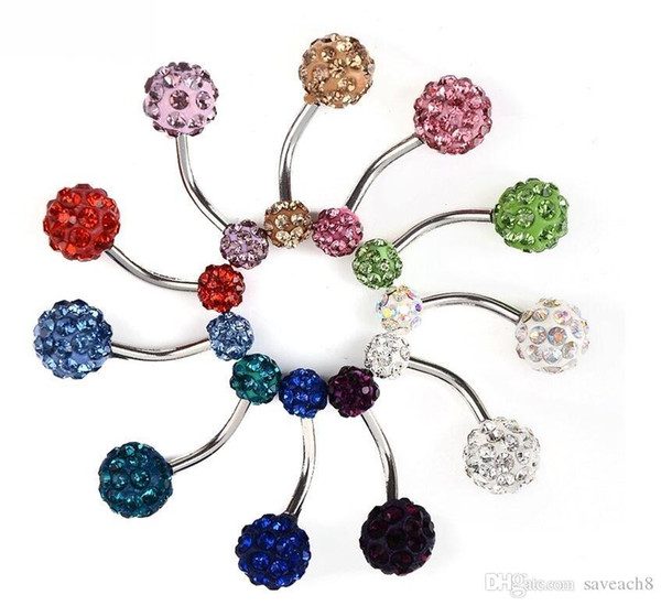 6Mmm/10mm Crystal Double Disco Ball Ferido Belly Bar Navel Belly Button Ring Belly Ring Piercing jewelry