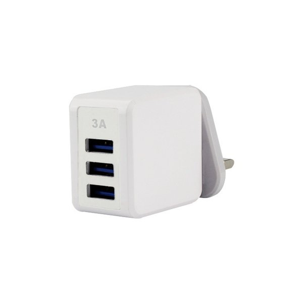 USB Fast Charger European regulations with 3 Port Power Supply Adapter Plug Head 3A CE/FCC/ROHS Certification White