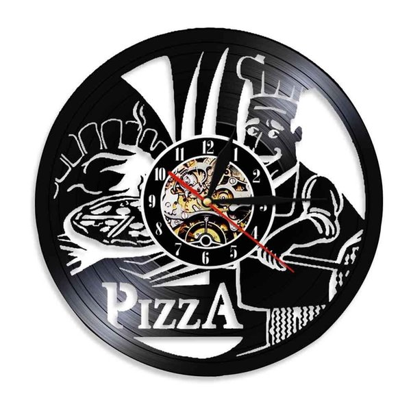 separation shoes 38622 10f12 2019 Fast Food Pizzeria Disco Vinyl Clock Hanging Wall Clock Favourite Food  Pizza Italia Pizza Good Dinner Special Gift For New Shop Glass Wall Clocks  ...