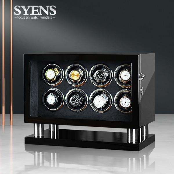 Montre automatique enrouleur enroulement boîte pour 8 wathces affichage de stockage avec tactile à cristaux liquides de lumière LED alimentation CA / USB