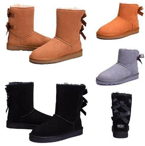 New designer Australia women classic snow boots ankle short bow fur boot for winter chestnut women winter shoes size 36-41