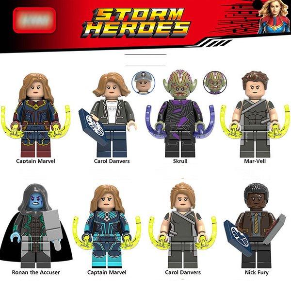 Kaptan Marvel Avengers Süper Kahramanlar Rakamlar Carol Danvers Rakamlar Skrull Mar-Vell Modeli Yapı Taşı çocuk Oyuncakları Tuğla Bebek Oyuncakları 2019 Için lego