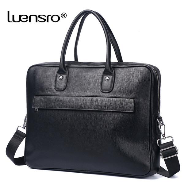 2019 neue Männer Große Aktentasche Tasche Aus Echtem Leder Laptoptasche Schulter Messenger Bags Business Computer Handtasche Männlichen Schwarz