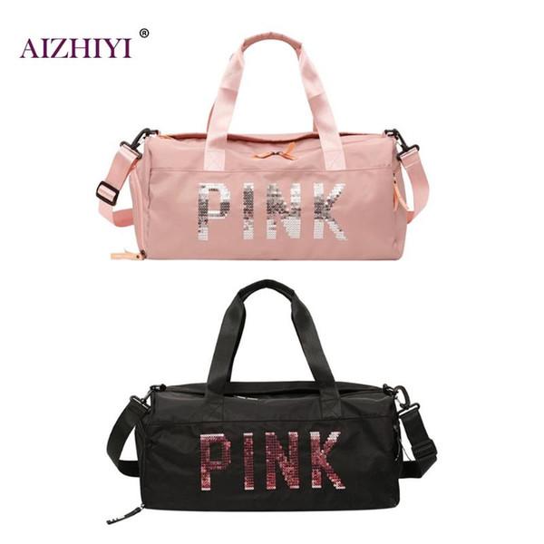Women Sequins Nylon Shoulder Tote Portable Sport Gym Luggage Handbags Travel Messenger Crossbody Bag