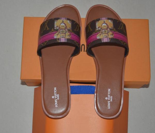 2019 Zapatos de diseñador Mujer Sandalias Geunine cuero Formal de noche Diseñador Diapositivas Verano Playa Zapatos de mujer Envío gratis EUR35-46