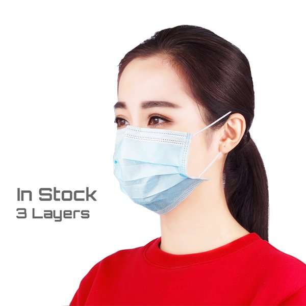 top popular 1000PCS Factory supply 3 ply Disposable Face Mask face disposable face shied 3 Layers mask with Ear loop 2020