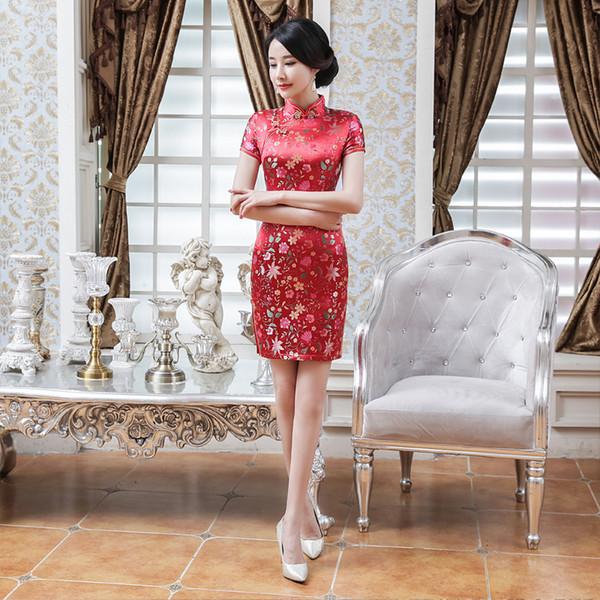 Moda mini cheongsam tang costume tradizionale cinese sposa abiti da sposa stile abito da sera rosso seta abiti da festa qipao