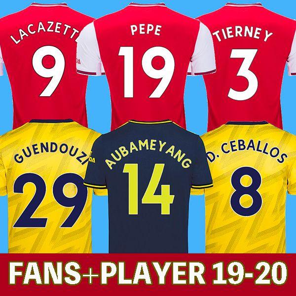 19 20 Arsenal Fußball Trikot 2019 2020 PEPE Fußball Trikot fans and player AUBAMEYANG LACAZETTE CEBALLOS GUENDOUZI XHAKA TORREIRA OZIL DAVID LUIZ