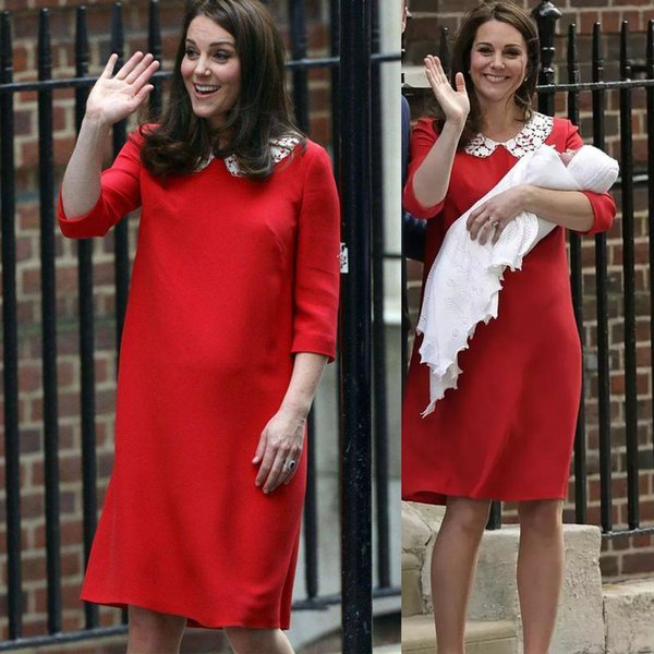 Princess Kate Same Red Dress Plus Size For Fat Women Soft Summer New Style Pregnant Maternity Dress