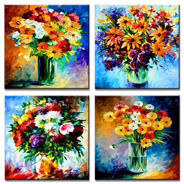 4 Pieces Canvas Painting Daisy Flowers Picture Prints Artworks Modern Wall Art for Bedroom Living Room Decoration Stretched Framed
