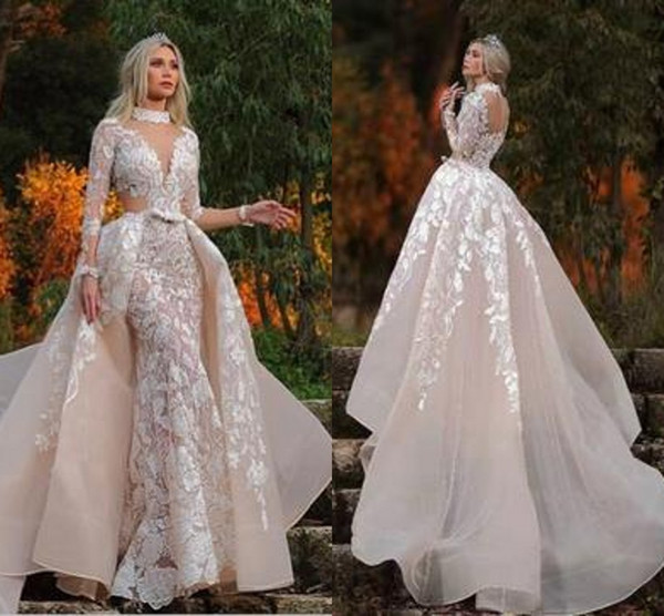 Champagne Muslim Mermaid Wedding Dresses with Detachable 2020 Lace Applique Outdoor Princess Chapel Train Wedding Gown