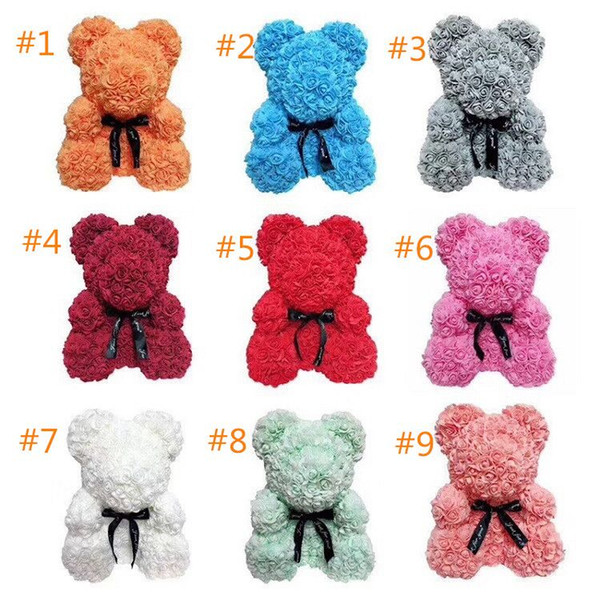 best selling 25cm Soap Foam Bear of Roses Teddi Bear Rose Flower Artificial New Year Gifts for Women Valentines Gift Christmas 9 colors EMS makeup set