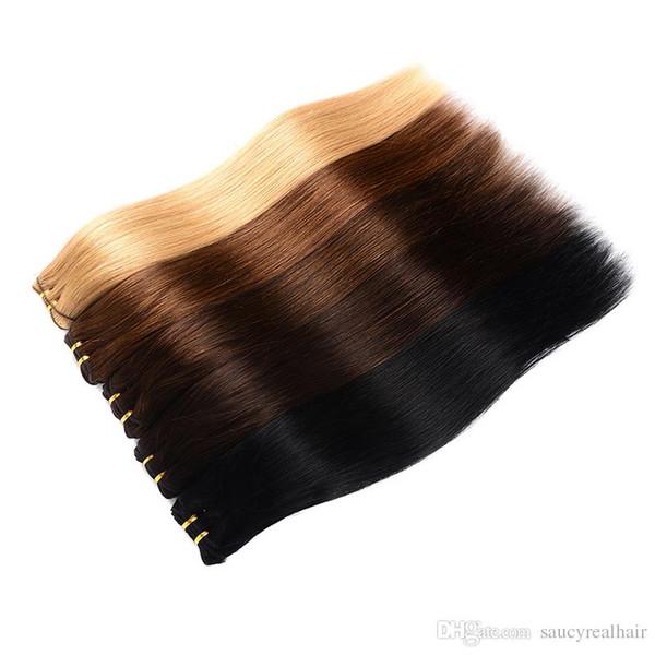 Paquetes de pelo virginal brasileño El cabello liso peruano teje 1B # # 1 # 2 # 4 # 27 # 99j # 613 Extensión de cabello humano 100 g / pcs 3pcs / pack o 4pcs / pack