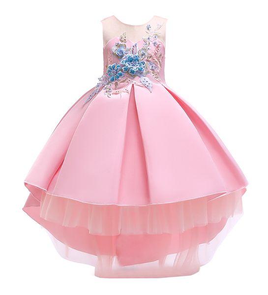Girls Bow Pleated Skirt Formal Princess Dress Lace Mesh Flower Print Light Blue Shrimp Pink Champagne 1