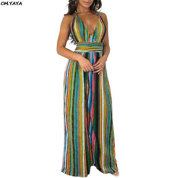2019 summer women colorful stripes halter v-neck open back sexy beach boho straight jumpsuits club night playsuit romper 58250