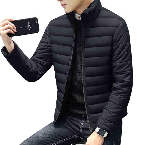 Зимние толстые теплые короткие тонкие куртки для мужчин стенд воротник с длинным рукавом мужской молнии пальто верхняя одежда плюс размер M-4XL Doudoune Homme