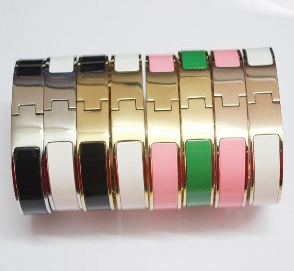 Hotyou color oro lettera H fibbia braccialetto moda donna gioielli in titanio di alta qualità 12mm larghezza 18K placcato oro colla inviare con borsa per donna