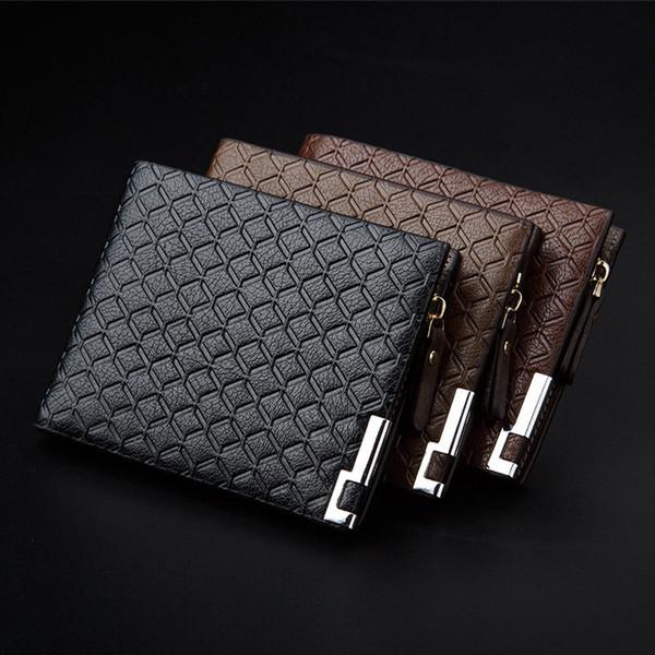 RURU monkey Men's Genuine Leather Wallet Men 2 Fold Multi-function Short Wallet Male Large Capacity Mini Zipper Business Purse