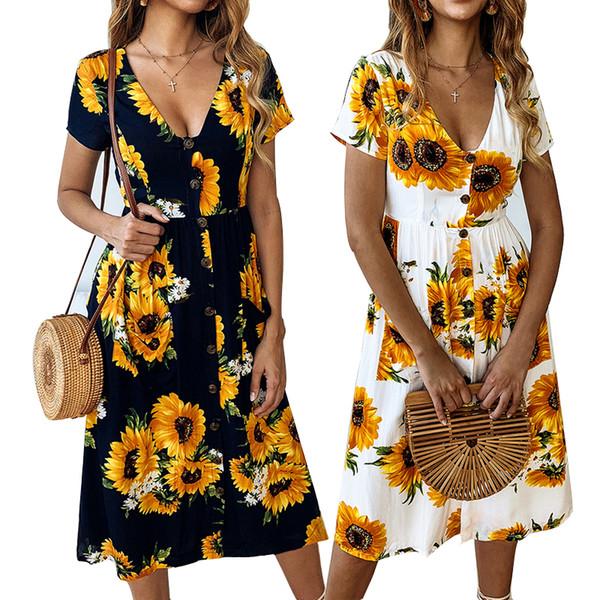 Compre Verano Nuevo Vestido De Girasol Mujer Bolsillos De Manga Corta De La Calle Vestido Hasta La Rodilla Playa Vestido Estampado Floral Fiesta En