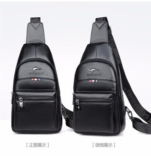 2019 De lujo de alta calidad bolsa de pecho de cuero hombres crossbody de negocios casual hombre hombre viaje canguro moda bolsas de plumas S6082-13
