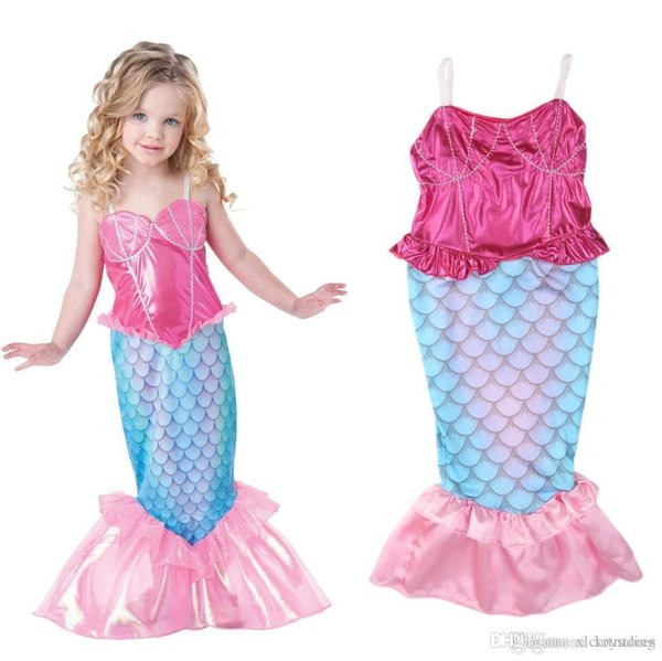 Girl's Mermaid Cosplay dress kids party princess dress Mermaid Costume Perform Clothes kids Christmas Party clothes