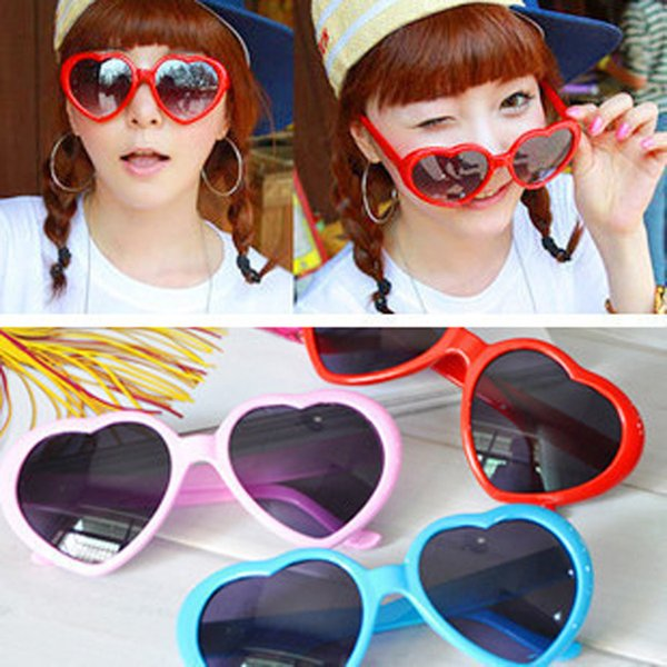 Moda en forma de corazón Gafas de sol Mujer creativa Gafas de sol de marco completo Retro Amor de gran tamaño Playa de viaje Gafas TTA1035