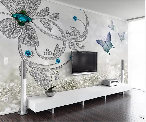 Custom 3D Photo Wallpaper Mural Hand Painted Crystal flower butterfly jewelry Wall Mural Living Room Home Decor Painting Wall Paper