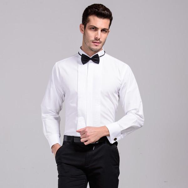 Neue Ankunft Französisch Manschette Flügelspitze Kragen Männer Formal Dress Shirts Smoking Hemden Bräutigam Hochzeit Für Männer Bühnenkostüm