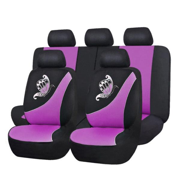 Nero Flying Banner Panno Tessuto Universale Coprisedili Auto Sedili con Airbag Laterale