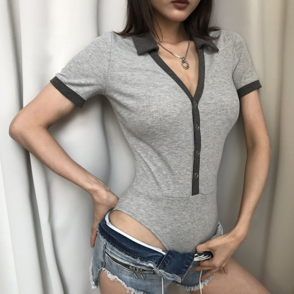 2019 Low collar pit T-shirt European and American style summer ins wild basic section Siamese short-sleeved shirt women