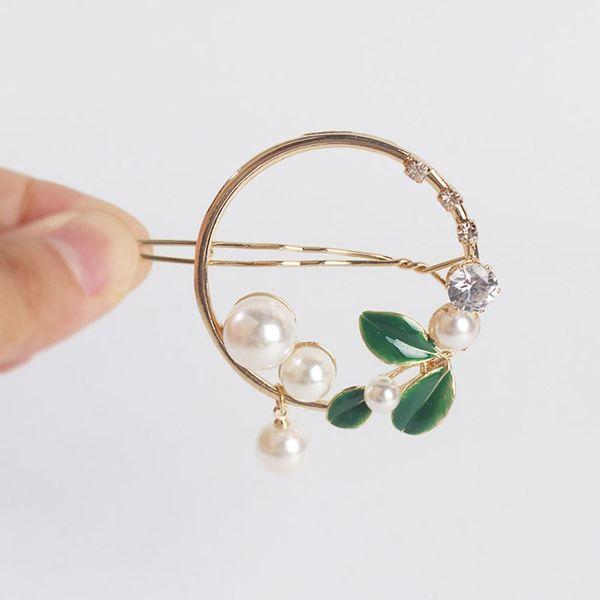 2019 New Fashion Women Girls Gold/Green Leaf Metal Circle Moon Hair Clips Alloy Round Pearl Hairpins Holder Hair Accessories