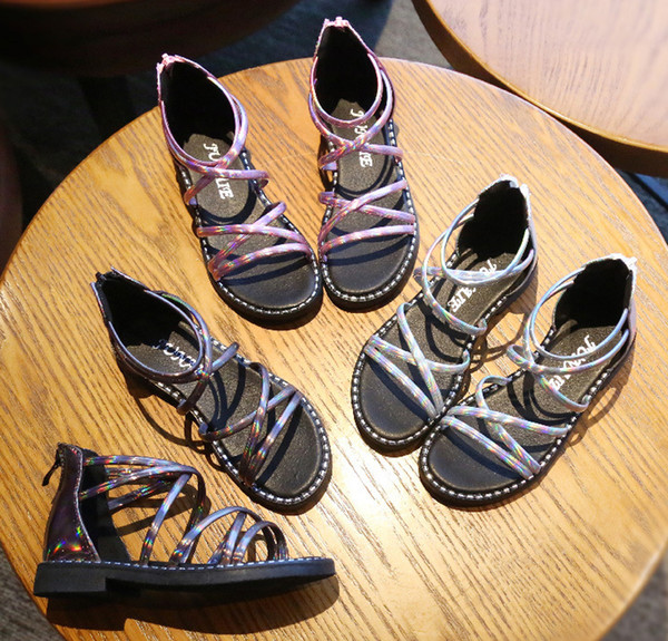 Acquista Estate Bambina Moda Scarpe Sandali In Pelle Scarpe Da Spiaggia Scarpe Eleganti Calzature Moda Sandali Bambini Rosa + Marrone + Grigio 3 Paia