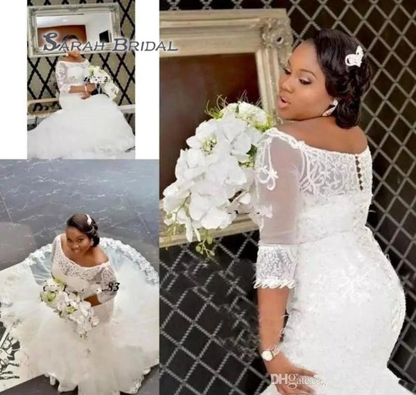 South African Nigerian Lace Appliques Mermaid Wedding Dress Off The Shoulder Long Church Garden Bride Bridal Gown Custom Made Plus Size