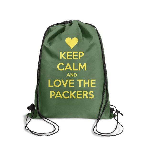 Drawstring Sports Backpack Green Bay Packers fans slogan keep calmpersonalized adjustable school Pull String Backpack