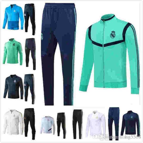 2019/20 Real Madrid chaqueta de chándal de fútbol chándal cremallera completa 2019 2020 Real Madrid maillot de Pie de ISCO Survêtement Chandal