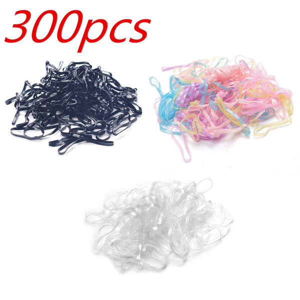 300pcs Rubber Hairband Rope Ponytail Holder Elastic Hair Band Ties Braids New Hair Ring Ropes Bind Tool Hairstyle Holding Band