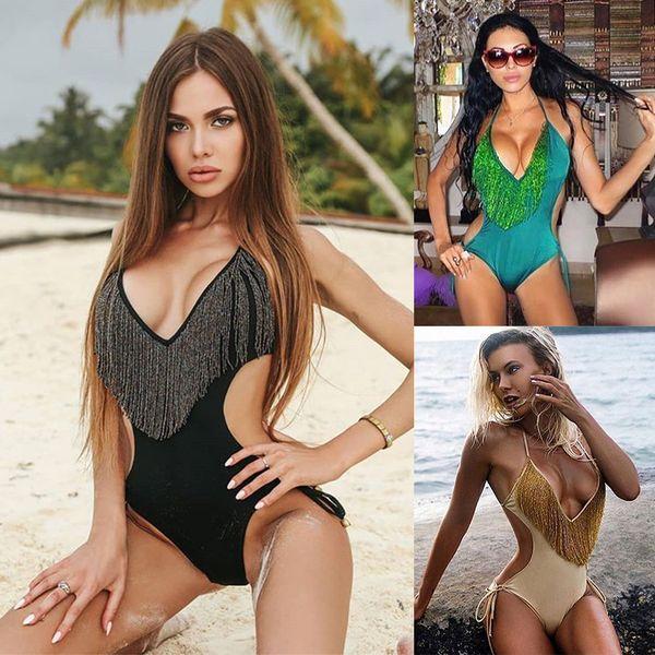 Women Swimwear One Piece 2019 Bikini Sexy Swimsuit Push Up Ladies Brazilian Swim Suits Beach Wear Summer Beachwear Tassel
