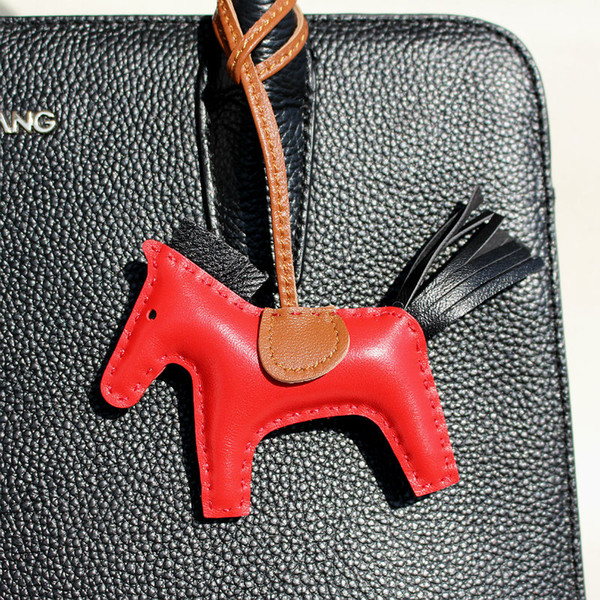 ashion Jewelry Key Chains Brand Handmade Sheep Skin Genuine Leather Mini Horse Keychain Pendant For Backpack Animal Key Chain Women Bag C...
